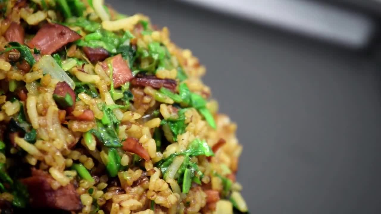 Stir fry rice gammon food dish