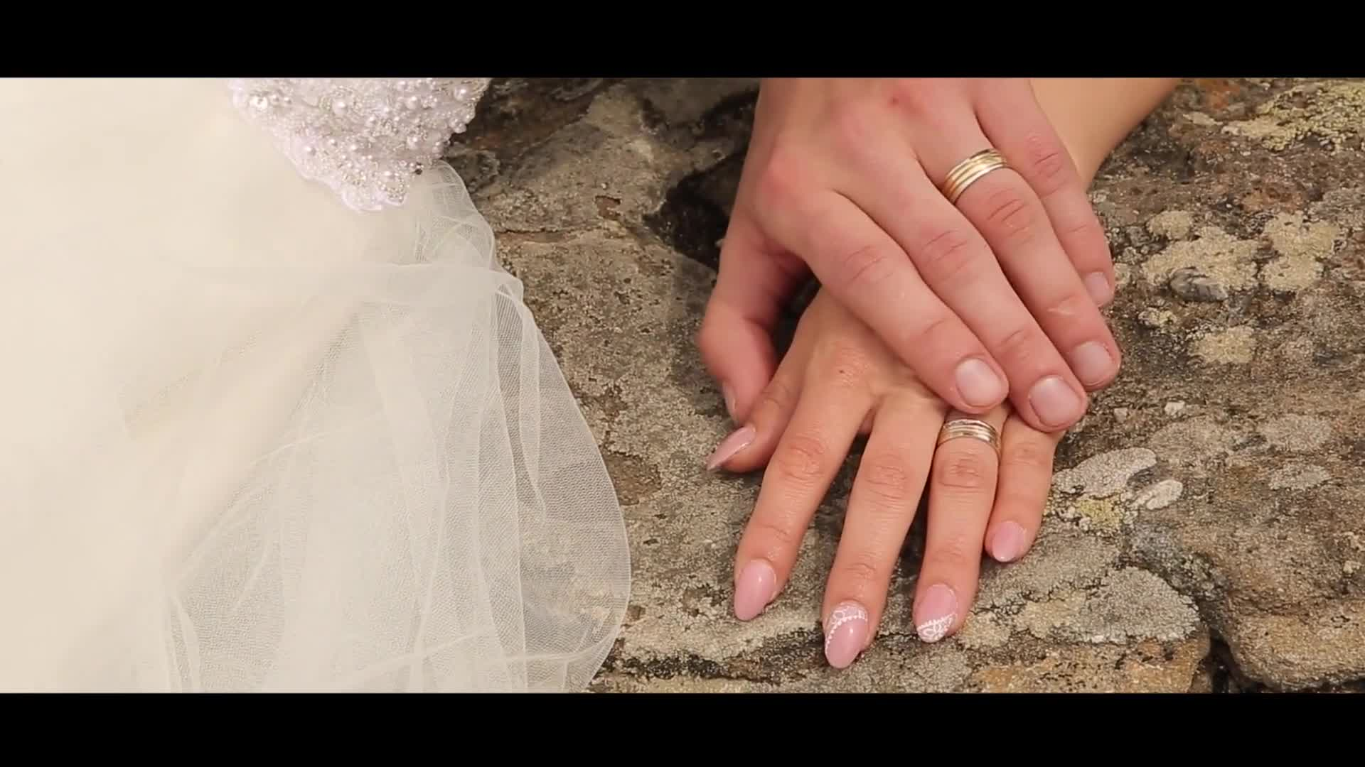 Hands wedding bride touching wedding ring