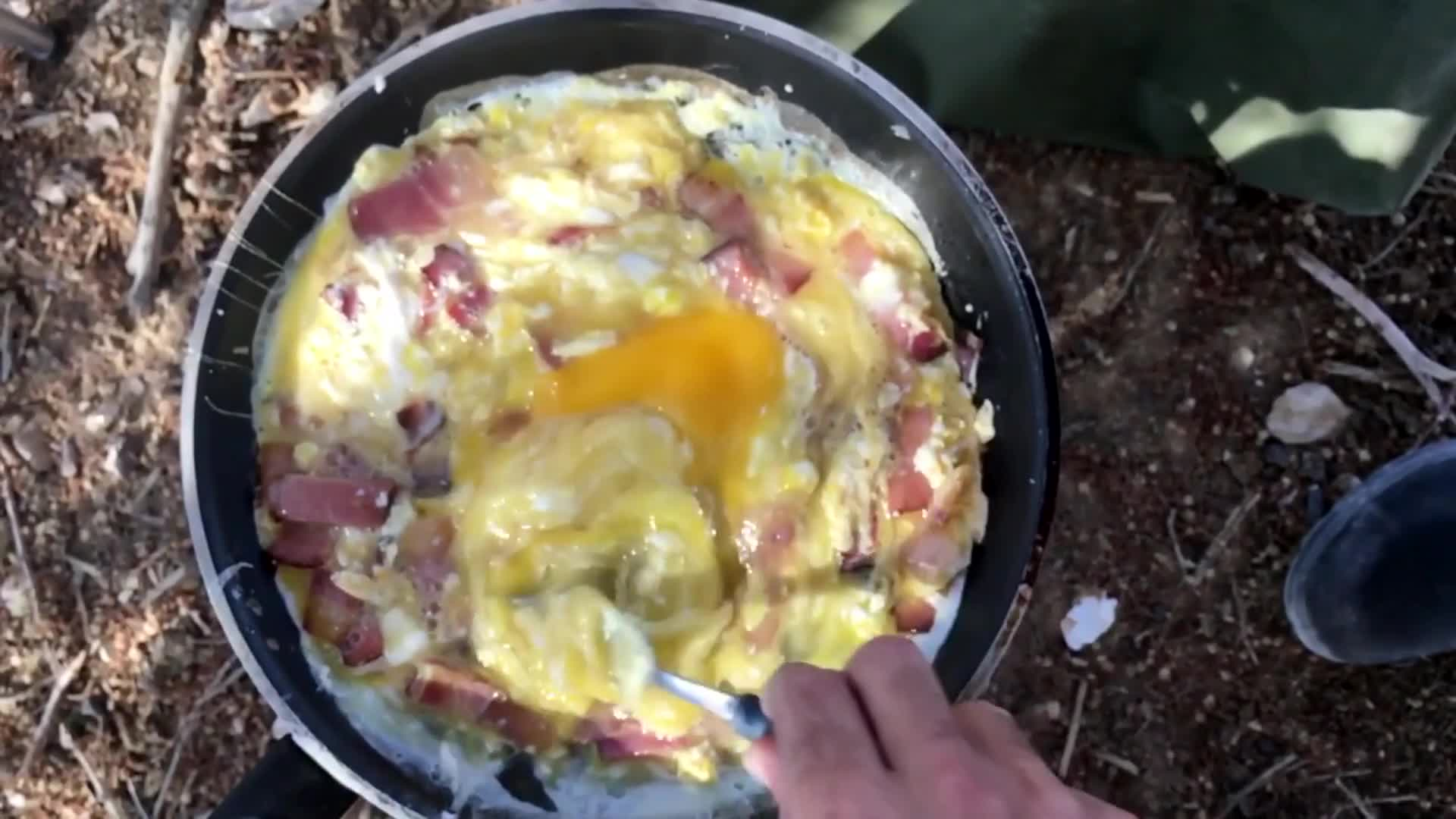 Breakfast outdoors camping food cooking