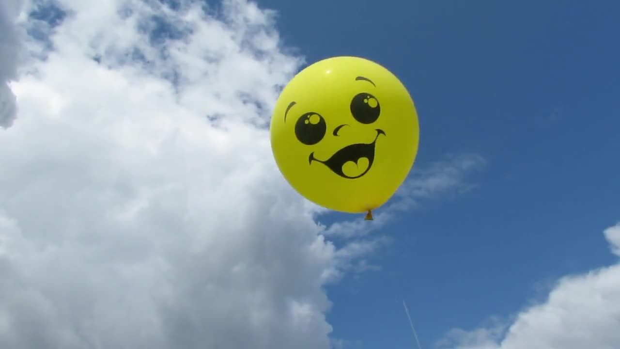 Balloon sky clouds yellow smile