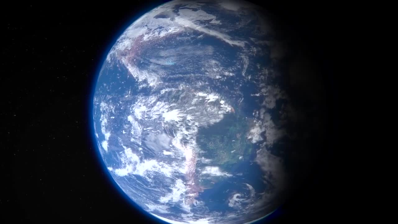 Earth running blue planet space 3d