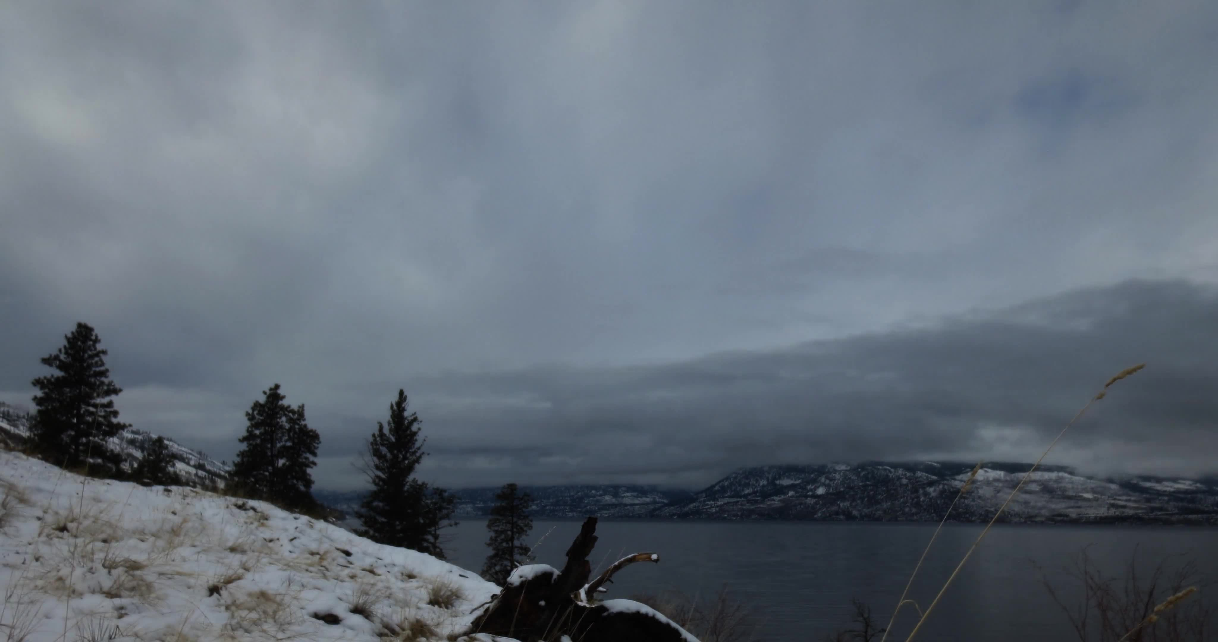 Okanagan spring snow melting sunset