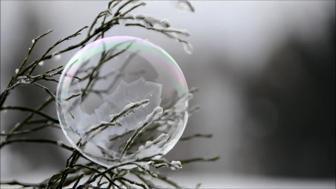 Soap bubble freezer winter cold ice cold