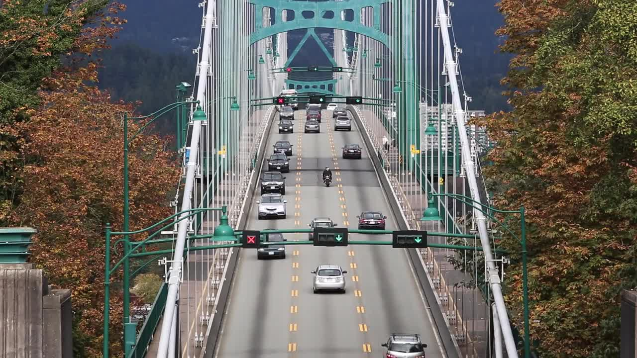 Suspension bridge traffic street bridge river