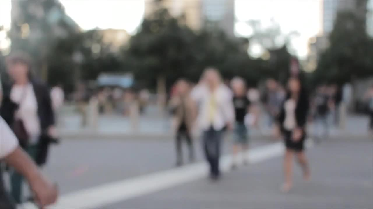 City bokeh blur background people
