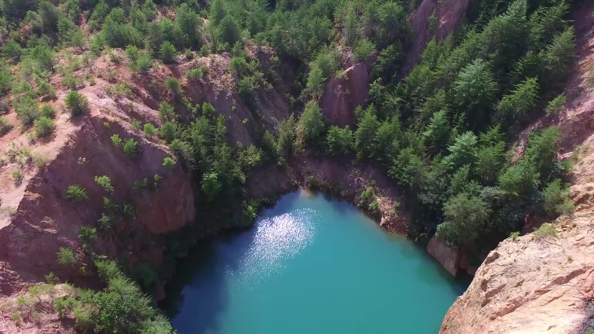 Lake turquoise water nature drone
