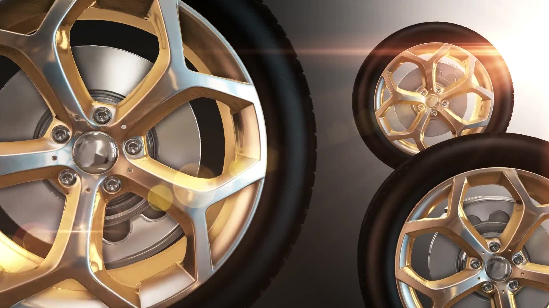 Car wheels golden tires rotation