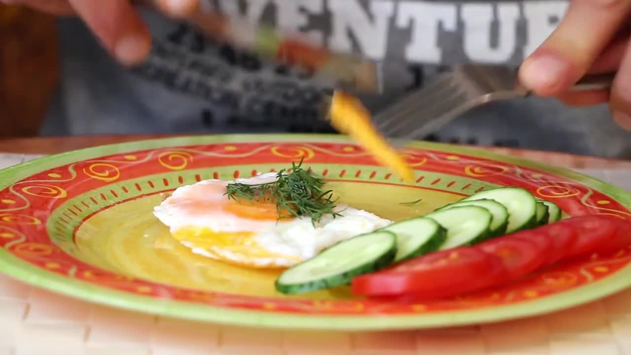 Omelette plate cucumbers food fork